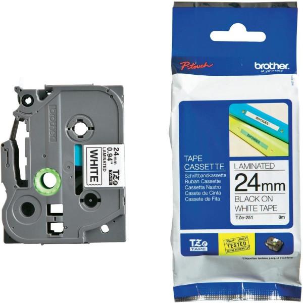 Консуматив Brother TZe-251 Tape Black on White, Laminated, 24mm - Eco