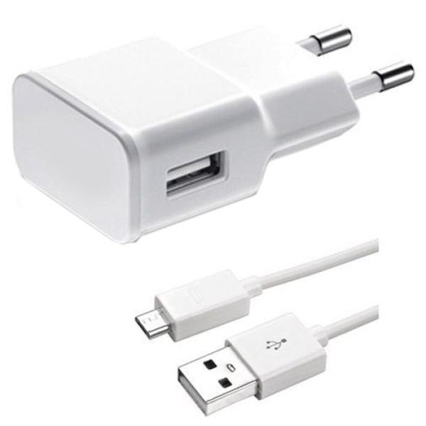 Мрежово зарядно устройство, No brand, 5V/1A, 220V,1 x USB, С Micro USB кабел, Бял - 14257