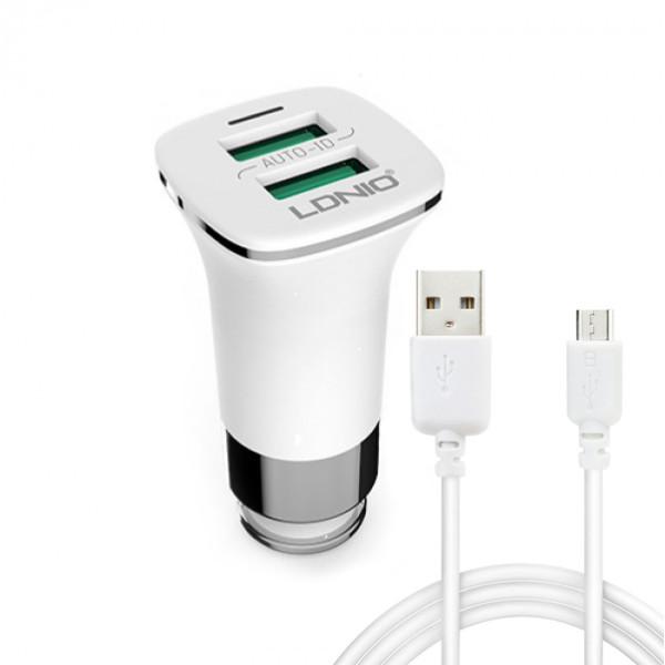 Зарядно устройство за кола, LDNIO C301, 5V/3.6A, Универсално, 2 x USB, С  Micro USB кабел, Бял - 14374