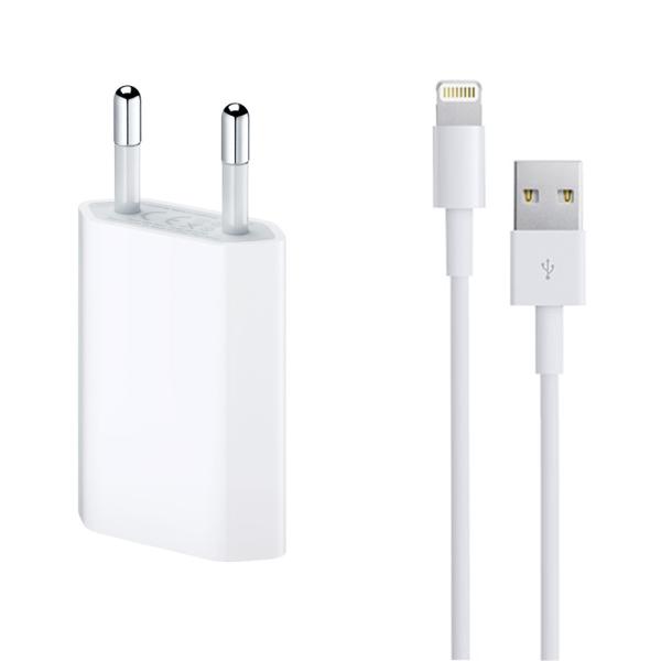 Мрежово зарядно устройство, No brand, 5V/1A 220V, + Кабел за iPhone 5/6/7, 1.0m, Бял - 14853