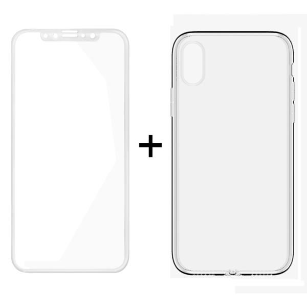 Комплект стъклен протектор + Калъф, Remax Crystal, за iPhone X, Бял - 52324