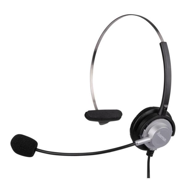 Слушалки HAMA с микрофон за жичен телефон, Черен/Сив HAMA-40625