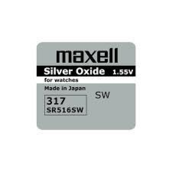 Бутонна батерия сребърна MAXELL SR-516 SW /317/  1.55V ML-BS-SR-516-SW